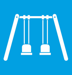 Wooden swings hanging on ropes icon white vector