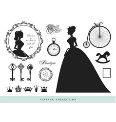 Vintage silhouettes set princesses old keys vector