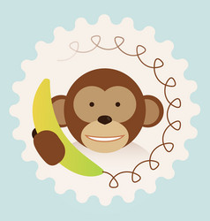 monkey with banana-phone - call center support vector image
