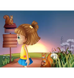A young girl and the two squirrels near the empty vector image