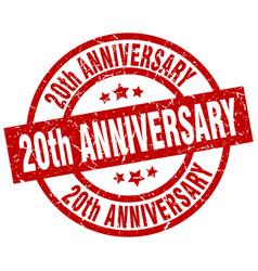 20th anniversary round red grunge stamp vector