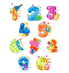 Cartoon digits and numbers with toys vector