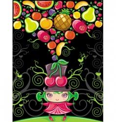 cherry girl fruity vector image