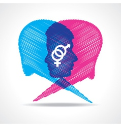Sketched male and female face make speech bubble vector