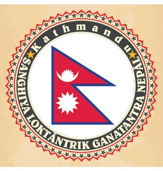 Vintage label cards of nepal flag vector