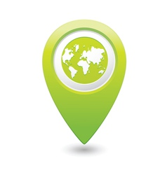 Earth icon on map pointer green vector