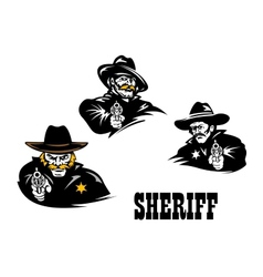 American western sheriff characters set vector