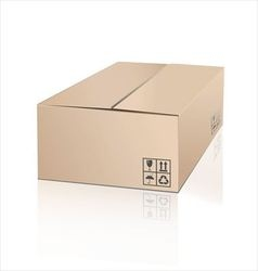 Unpacking cardboard box with fragile symbol vector