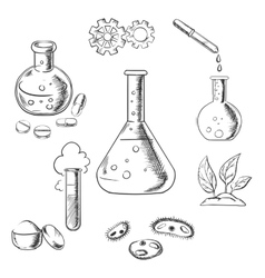 Experiment and scientific sketch icons vector