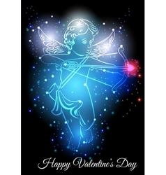 Little cupid with bow and arrow vector