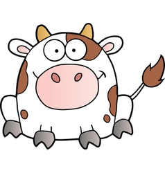 White cow cartoon mascot character vector