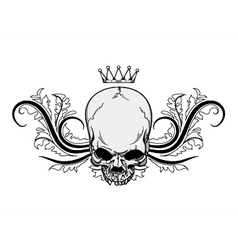 Skull with floral vintage t-shirt design vector