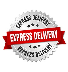 Express delivery 3d silver badge with red ribbon vector