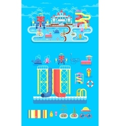 Set elements water park vector