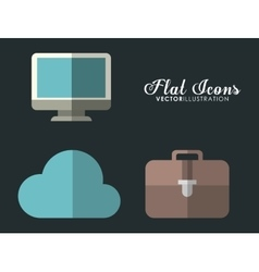 Cloud computer and suitcase icon office vector