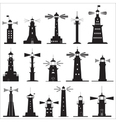 Set Icons of Lighthouses vector image