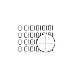 Binary code add icon vector