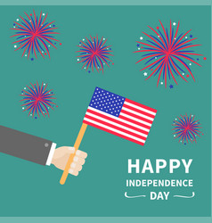 businessman hand holding american flag star and vector image