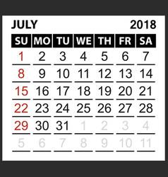 Calendar sheet july 2018 vector