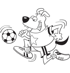 Cartoon dog playing soccer vector