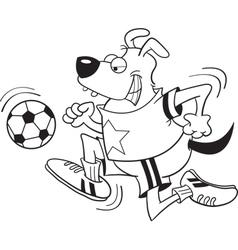 Cartoon dog playing soccer vector image vector image