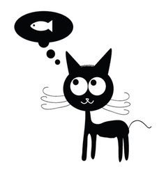 Cat with dreams of fish vector