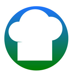 Chef cap sign white icon in bluish circle vector