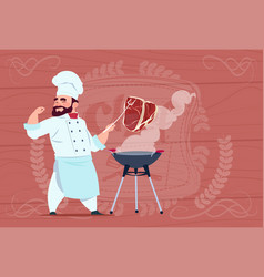Chef cook grill meat on bbq cartoon restaurant vector