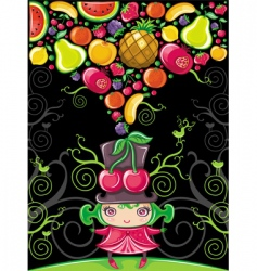 cherry girl fruity vector image