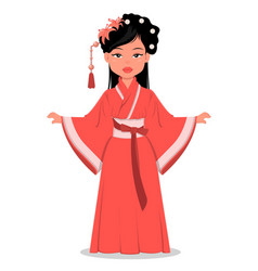Chinese girl character in beautiful traditional vector