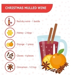 Christmas cocktail mulled wine recipe with vector