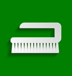 Cleaning brush hygiene tool sign paper vector