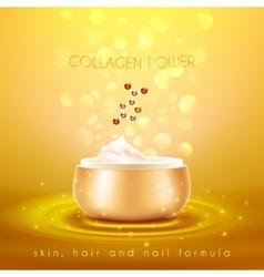 Collagen skin cream golden background poster vector