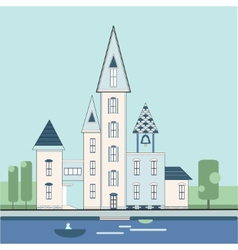 decorative houses with turrets vector image vector image