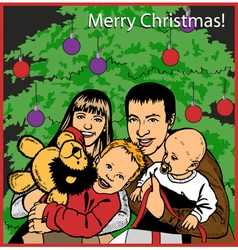 Family opening christmas gifts vector