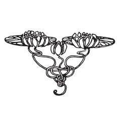 Floral tailpiece have two big flowers vintage vector