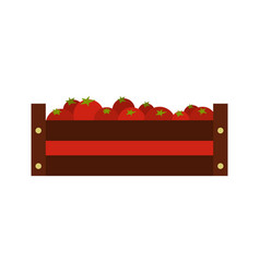 fresh vegetables in a box icon flat style vector image