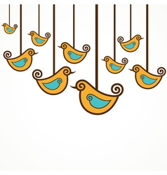 Funny yellow birds on the strings vector