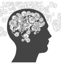 Gear head thinking man vector