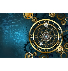 Golden clock on turquoise background vector