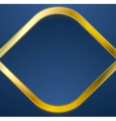 Golden metal rhombus shape on blue background vector image