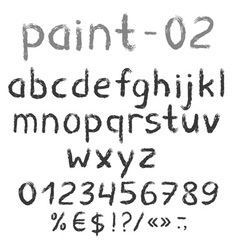 Grunge grey painted english alphabet with numbers vector image