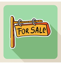 Hand drawn real estate for sale sign vector