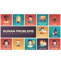 Human psychological problems- flat design icons vector image