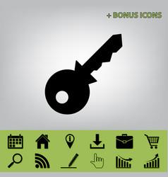 Key sign black icon at gray vector