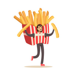 Man wearing french fries costume fast food snack vector