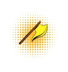 Medieval knight ax comics icon vector