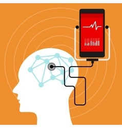 Mental brain health monitoring mobile phone vector
