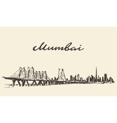 Mumbai skyline drawn sketch vector