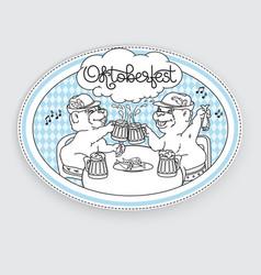 Oktoberfest card bears in friendly conversation vector